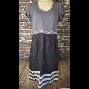 Boden Size 12 US 16 UK A-Line Dress Gray Striped